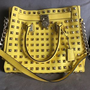 Michael Kors Yellow Studded Leather Tote